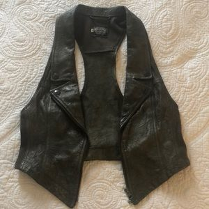 Charcoal Leather Vest
